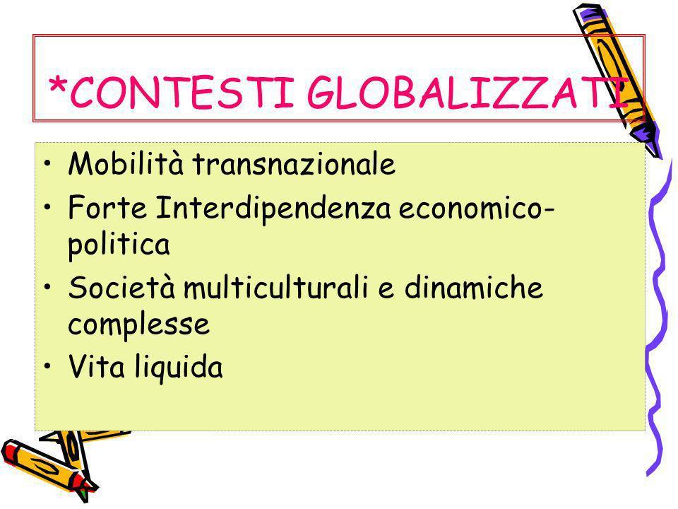 *CONTESTI GLOBALIZZATI Mobilità transnazionale Forte Interdipendenza economico- politica Società multiculturali e dinamiche complesse Vita liquida