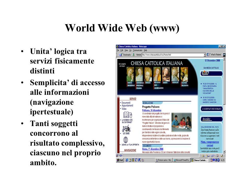 World Wide Web (www) Unita logica tra servizi fisicamente distinti Semplicita di accesso alle informazioni (navigazione ipertestuale) Tanti soggetti c