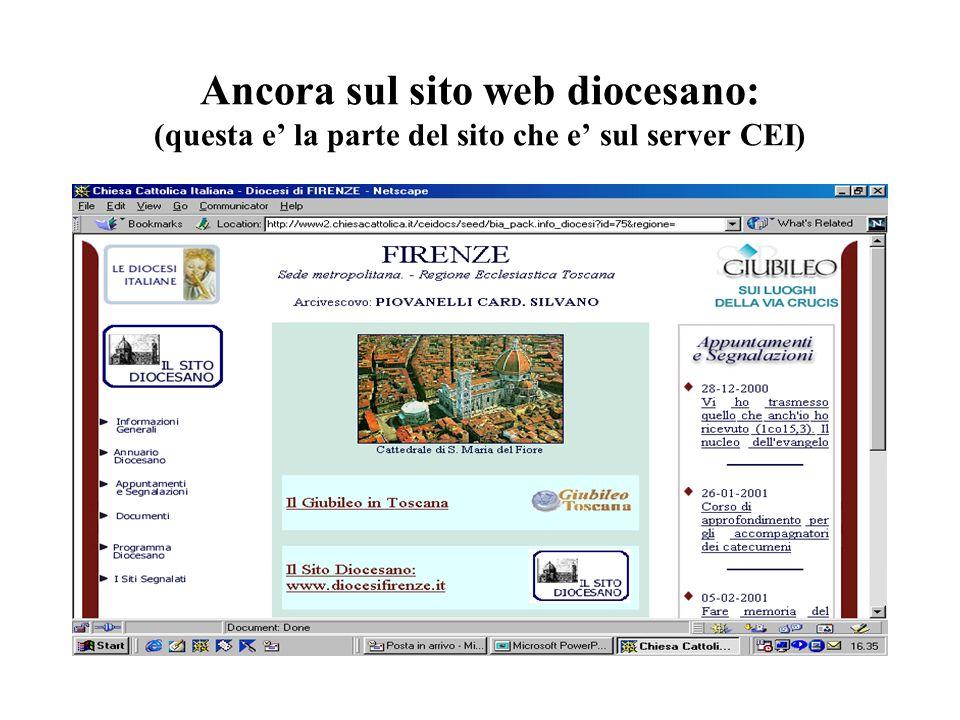 Ancora sul sito web diocesano: (questa e la parte del sito che e sul server CEI)