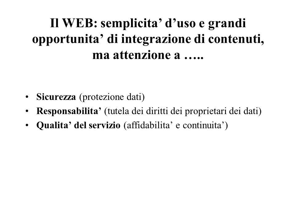 Il WEB: semplicita duso e grandi opportunita di integrazione di contenuti, ma attenzione a ….. Sicurezza (protezione dati) Responsabilita (tutela dei