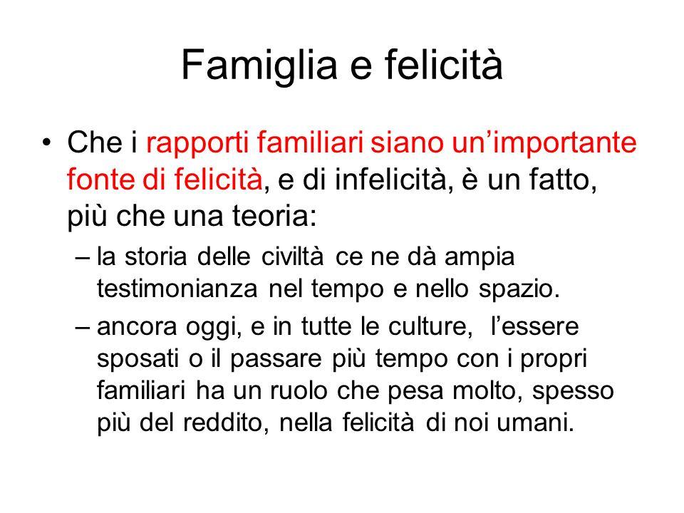 Famiglia e felicità Che i rapporti familiari siano unimportante fonte di felicità, e di infelicità, è un fatto, più che una teoria: –la storia delle c