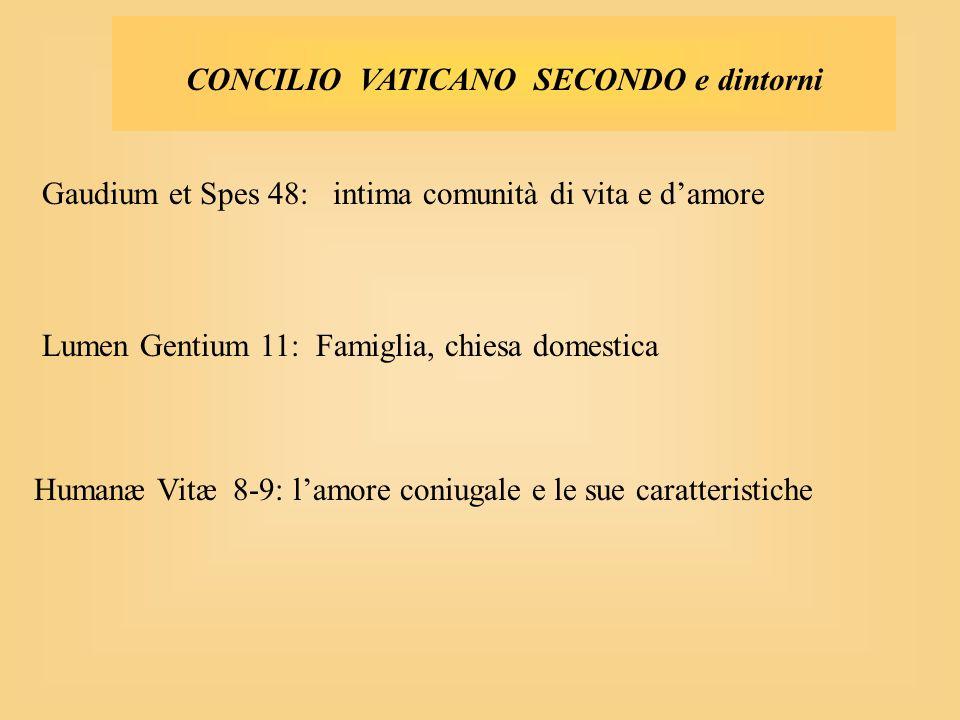 CONCILIO VATICANO SECONDO e dintorni Gaudium et Spes 48: intima comunità di vita e damore Lumen Gentium 11: Famiglia, chiesa domestica Humanæ Vitæ 8-9: lamore coniugale e le sue caratteristiche