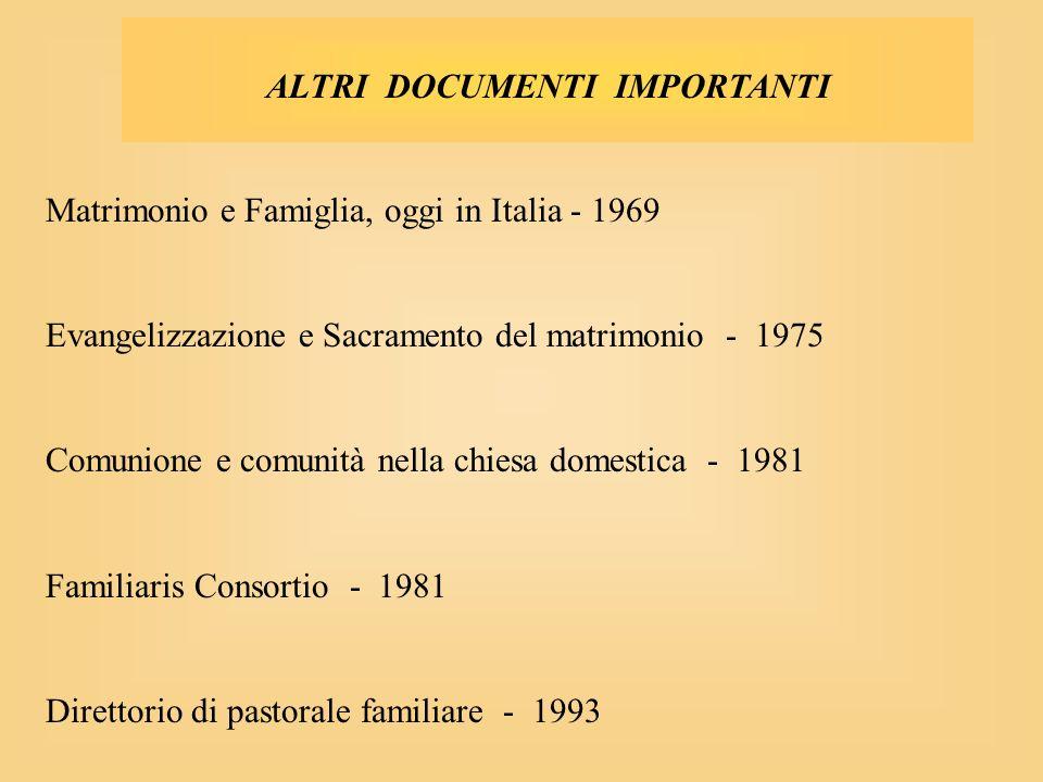 ALTRI DOCUMENTI IMPORTANTI Matrimonio e Famiglia, oggi in Italia - 1969 Evangelizzazione e Sacramento del matrimonio - 1975 Comunione e comunità nella