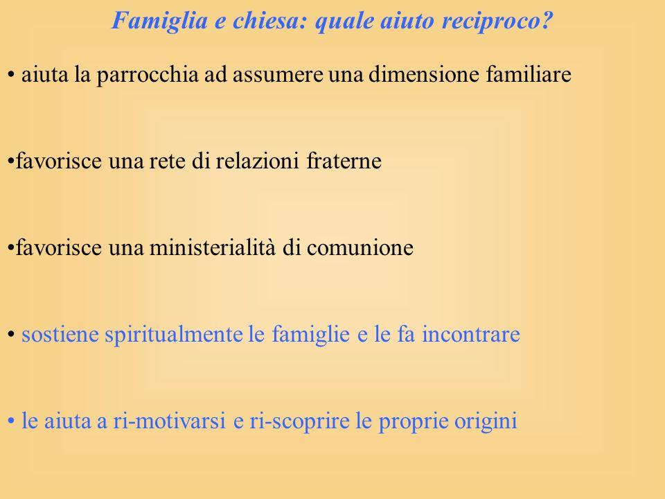 Famiglia e chiesa: quale aiuto reciproco.