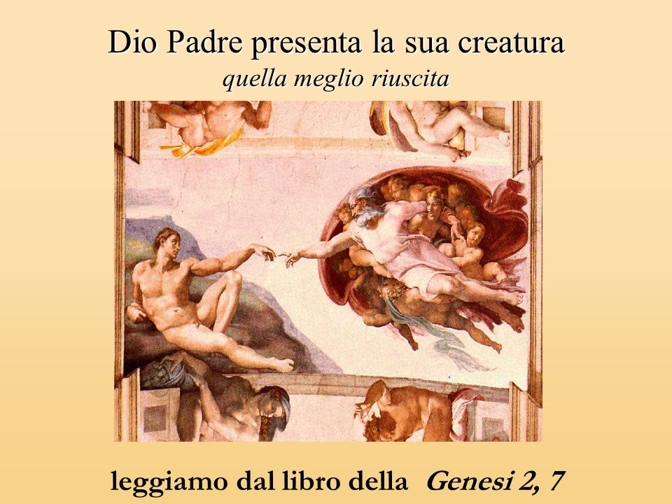 Dio Padre presenta la sua creatura quella meglio riuscita leggiamo dal libro della Genesi 2, 7