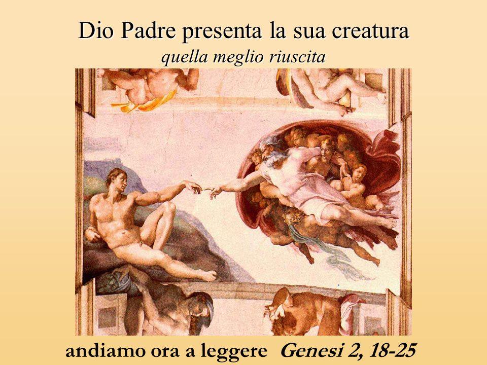 Dio Padre presenta la sua creatura quella meglio riuscita andiamo ora a leggere Genesi 2, 18-25