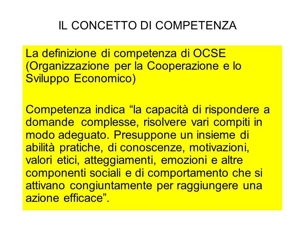 IL CONCETTO DI COMPETENZA La definizione di competenza di OCSE (Organizzazione per la Cooperazione e lo Sviluppo Economico) Competenza indica la capac