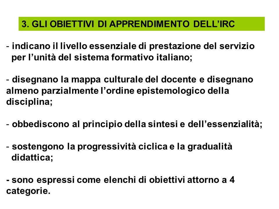 3. GLI OBIETTIVI DI APPRENDIMENTO DELLIRC - indicano il livello essenziale di prestazione del servizio per lunità del sistema formativo italiano; - di