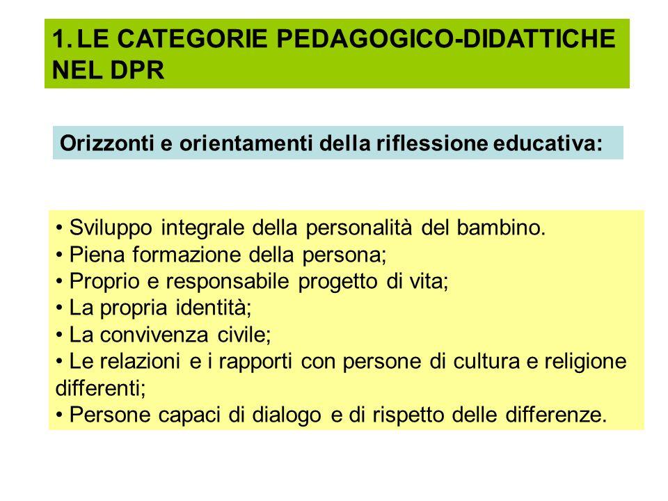 1.LE CATEGORIE PEDAGOGICO-DIDATTICHE NEL DPR Orizzonti e orientamenti della riflessione educativa: Sviluppo integrale della personalità del bambino. P