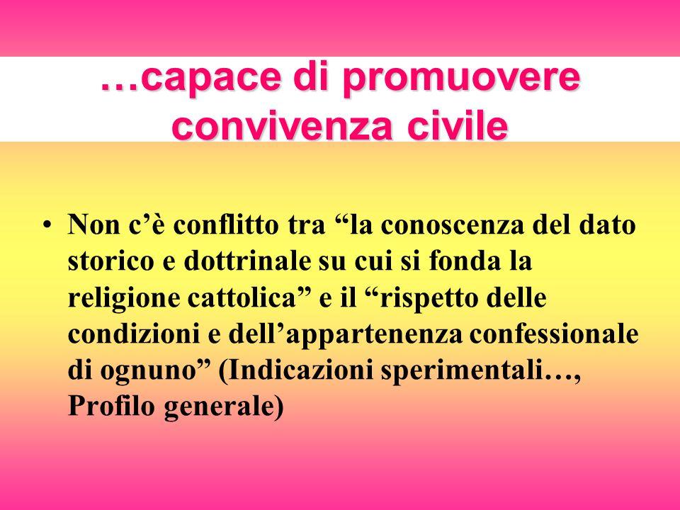 …capace di promuovere convivenza civile Non cè conflitto tra la conoscenza del dato storico e dottrinale su cui si fonda la religione cattolica e il r