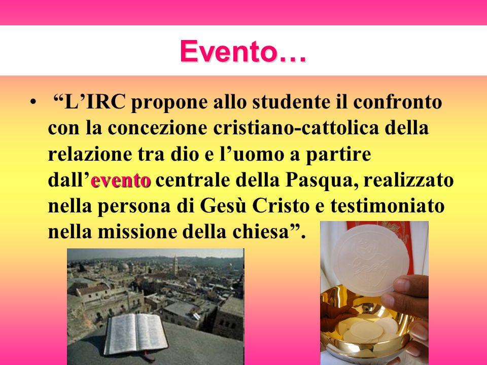 Evento… evento LIRC propone allo studente il confronto con la concezione cristiano-cattolica della relazione tra dio e luomo a partire dallevento cent