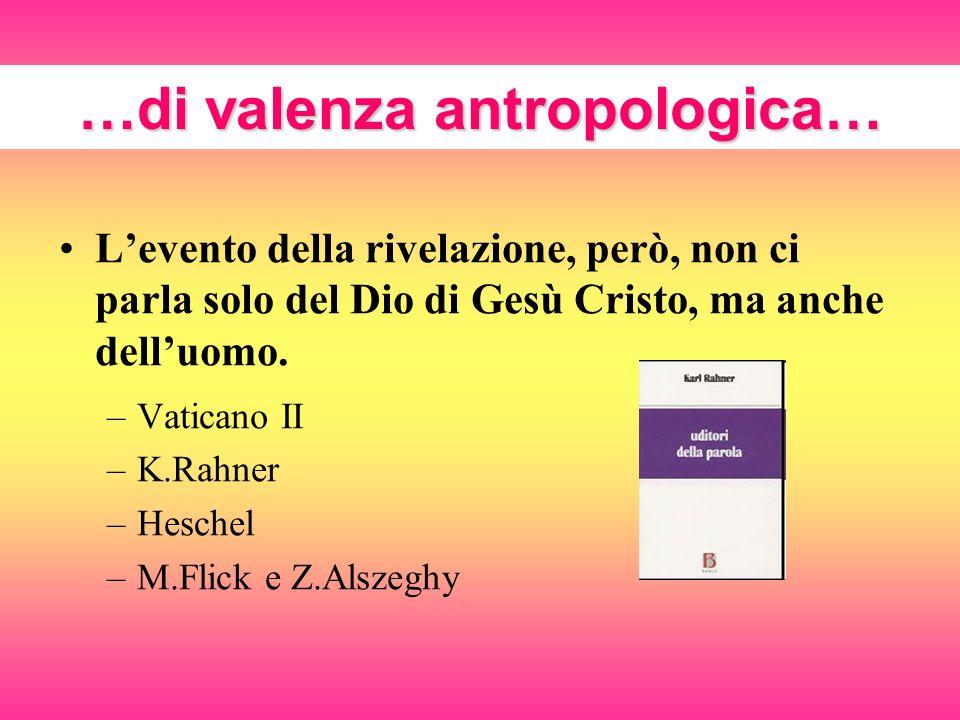 …di valenza antropologica… Levento della rivelazione, però, non ci parla solo del Dio di Gesù Cristo, ma anche delluomo. –Vaticano II –K.Rahner –Hesch