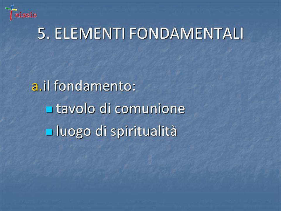 5. ELEMENTI FONDAMENTALI a.il fondamento: tavolo di comunione tavolo di comunione luogo di spiritualità luogo di spiritualità