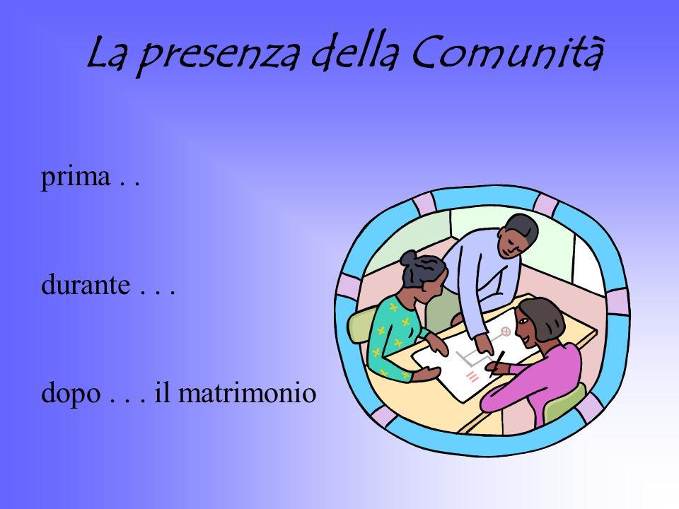 La presenza della Comunità prima.. durante... dopo... il matrimonio