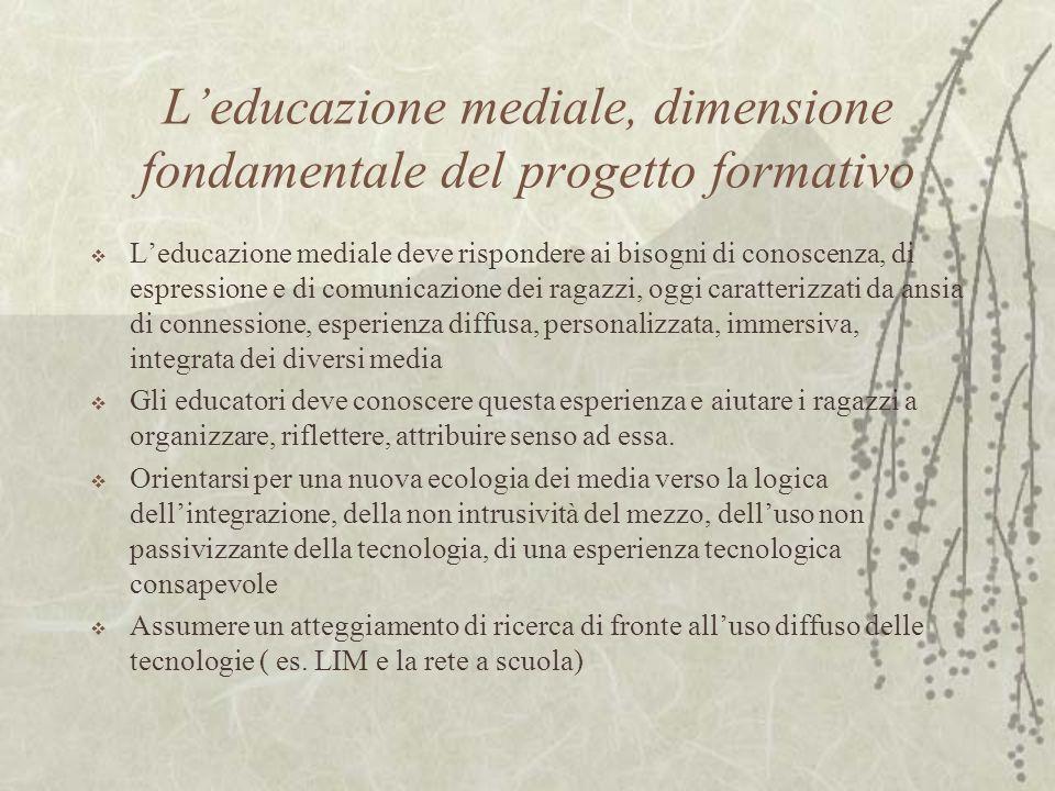 Leducazione mediale, dimensione fondamentale del progetto formativo Leducazione mediale deve rispondere ai bisogni di conoscenza, di espressione e di