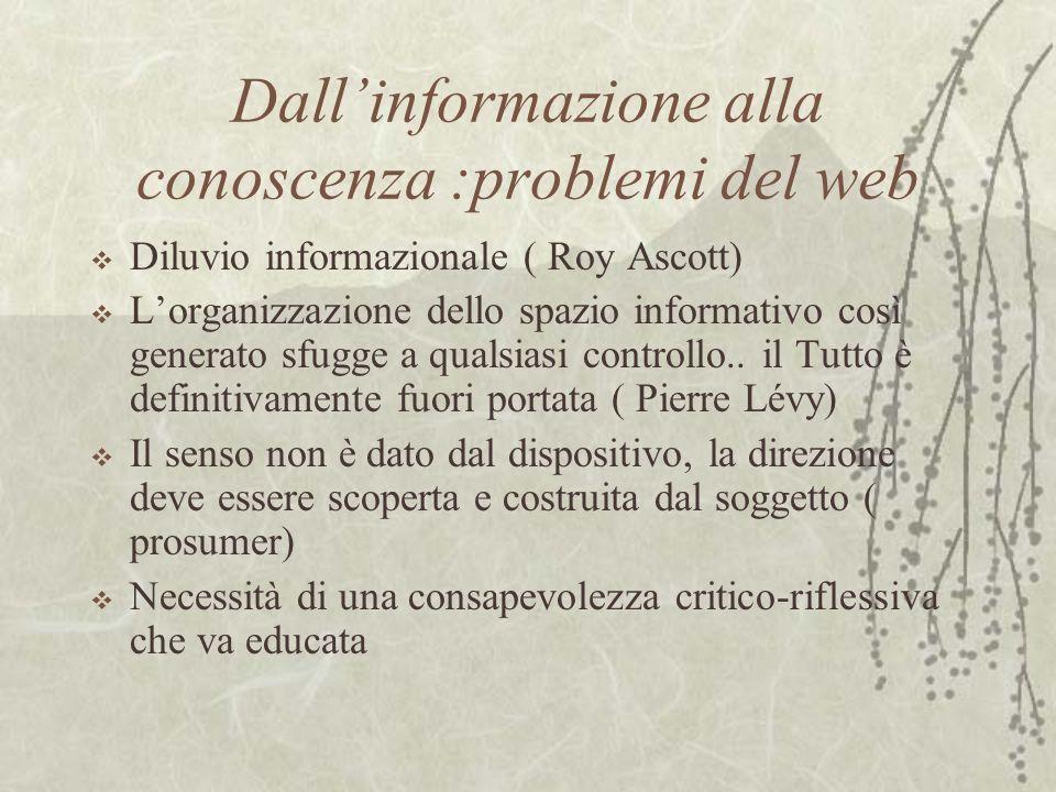 Dallinformazione alla conoscenza :problemi del web Diluvio informazionale ( Roy Ascott) Lorganizzazione dello spazio informativo così generato sfugge