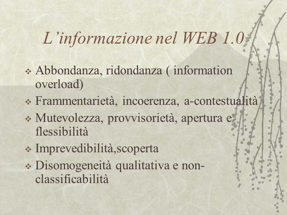 Le caratteristiche del WEB 2.0 Una nuova generazione di applicativi come i blog, i wiki, i videoblog, il podcasting ha dato vita a nuove pratiche di produzione, archiviazione, condivisione e consumo delle risorse informative digitali ( gli utenti assumono sempre più un ruolo attivo, autori) Folksonomy ( folk e taxonomy): forma sociale di metadatazione per aggregazione piuttosto che gerarchizzazione, legata a interessi delle comunità ( social bookmarking ) I siti sono archiviati tra i preferiti in base alle tag ( parole chiave) segnalate dalla comunità ( del.icio.us) Enfasi sui microcontenuti e sulla comunicazione
