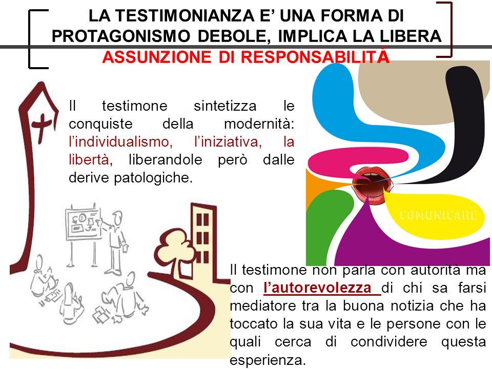 Il testimone sintetizza le conquiste della modernità: lindividualismo, liniziativa, la libertà, liberandole però dalle derive patologiche.