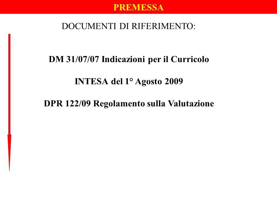 PREMESSA DOCUMENTI DI RIFERIMENTO: DM 31/07/07 Indicazioni per il Curricolo INTESA del 1° Agosto 2009 DPR 122/09 Regolamento sulla Valutazione