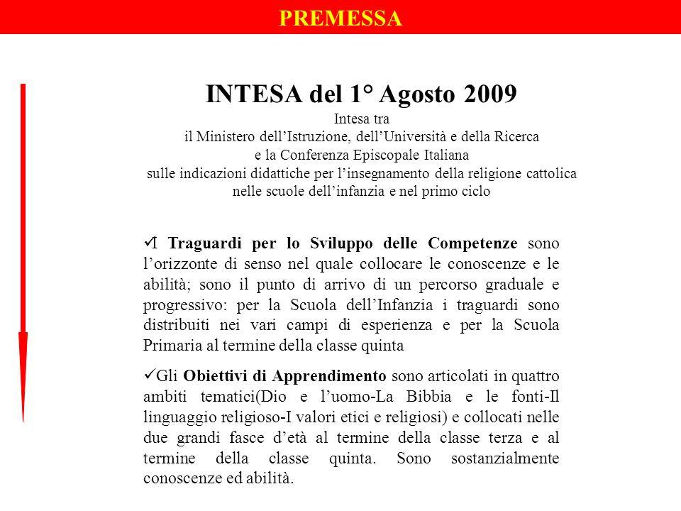 PREMESSA INTESA del 1° Agosto 2009 Intesa tra il Ministero dellIstruzione, dellUniversità e della Ricerca e la Conferenza Episcopale Italiana sulle in