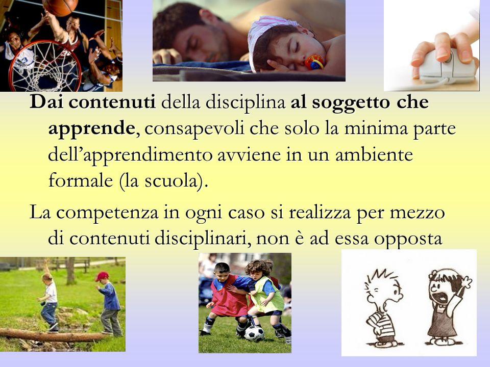 Dai contenuti della disciplina al soggetto che apprende, consapevoli che solo la minima parte dellapprendimento avviene in un ambiente formale (la scuola).