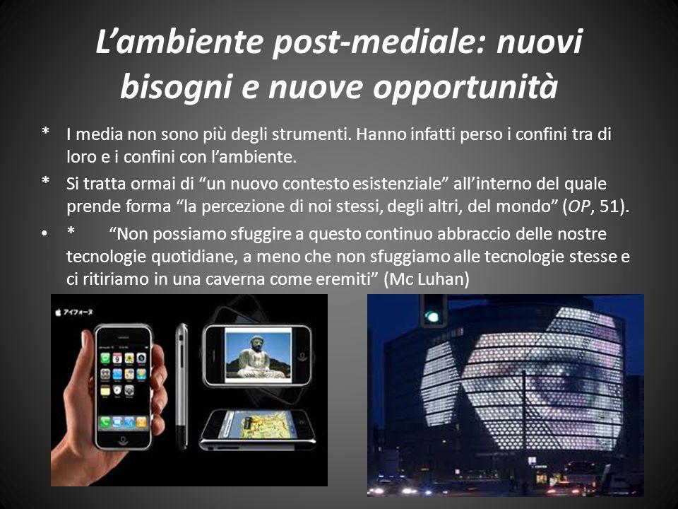 Lambiente post-mediale: nuovi bisogni e nuove opportunità *I media non sono più degli strumenti.