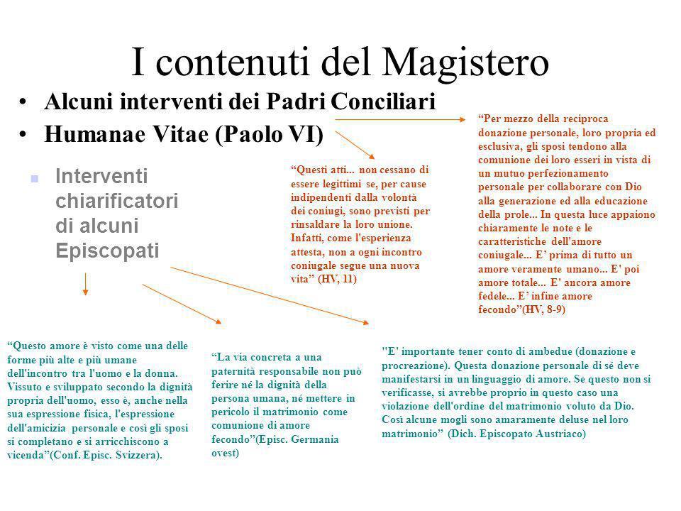 I contenuti del Magistero Gaudium et Spes (49,50,51) –Tentativo di superare una visione statica della vita matrimoniale in favore di una più umana, di