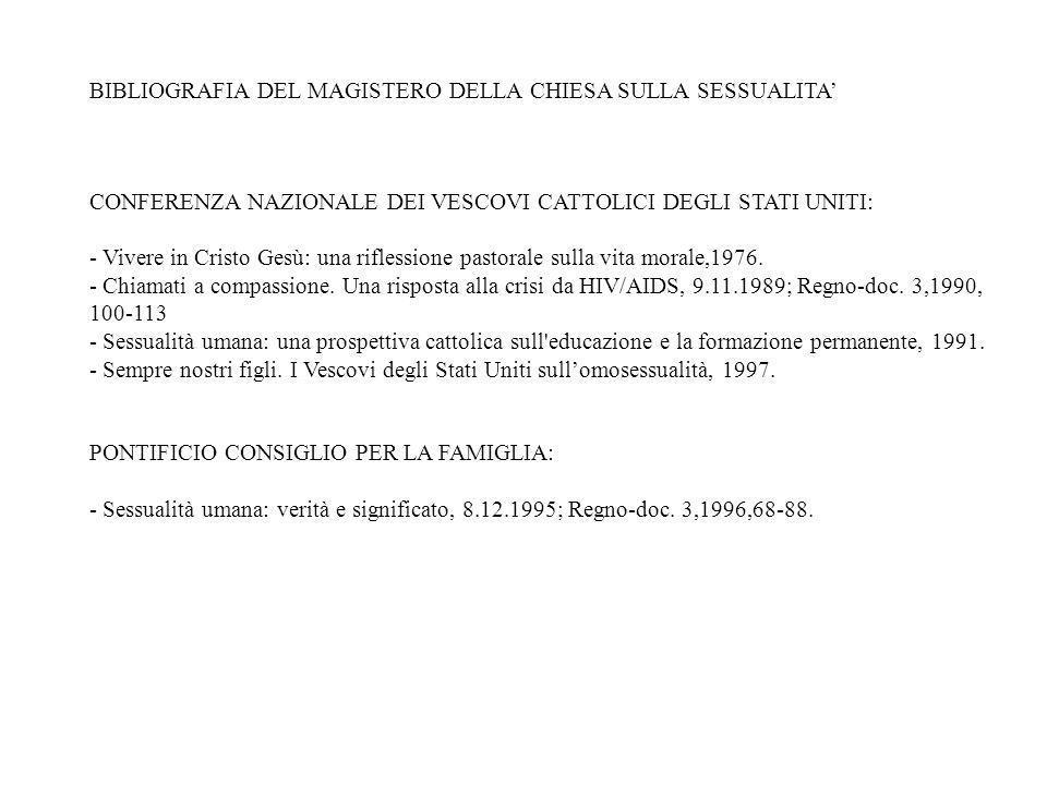 BIBLIOGRAFIA DEL MAGISTERO DELLA CHIESA SULLA SESSUALITA GIOVANNI PAOLO II: - Esortazione apostolica Familiaris consortio sui compiti della famiglia c