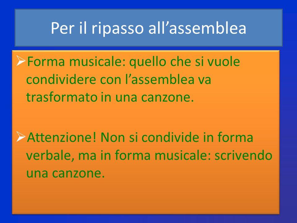 Per il ripasso allassemblea Forma musicale: quello che si vuole condividere con lassemblea va trasformato in una canzone.