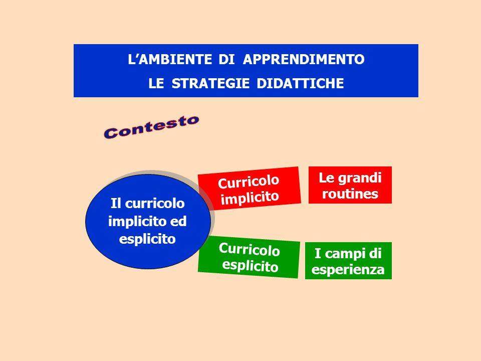 Curricolo implicito Curricolo esplicito Il curricolo implicito ed esplicito Le grandi routines LAMBIENTE DI APPRENDIMENTO LE STRATEGIE DIDATTICHE I ca