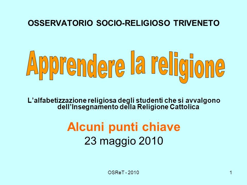 OSReT - 20101 OSSERVATORIO SOCIO-RELIGIOSO TRIVENETO Lalfabetizzazione religiosa degli studenti che si avvalgono dellInsegnamento della Religione Cattolica Alcuni punti chiave 23 maggio 2010