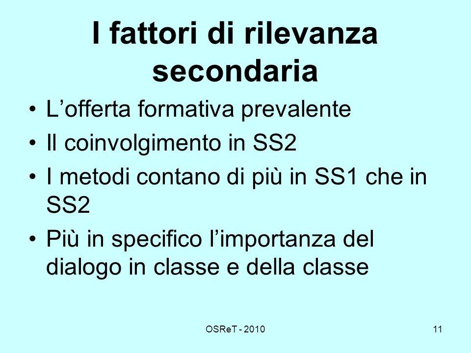 OSReT - 201011 I fattori di rilevanza secondaria Lofferta formativa prevalente Il coinvolgimento in SS2 I metodi contano di più in SS1 che in SS2 Più in specifico limportanza del dialogo in classe e della classe