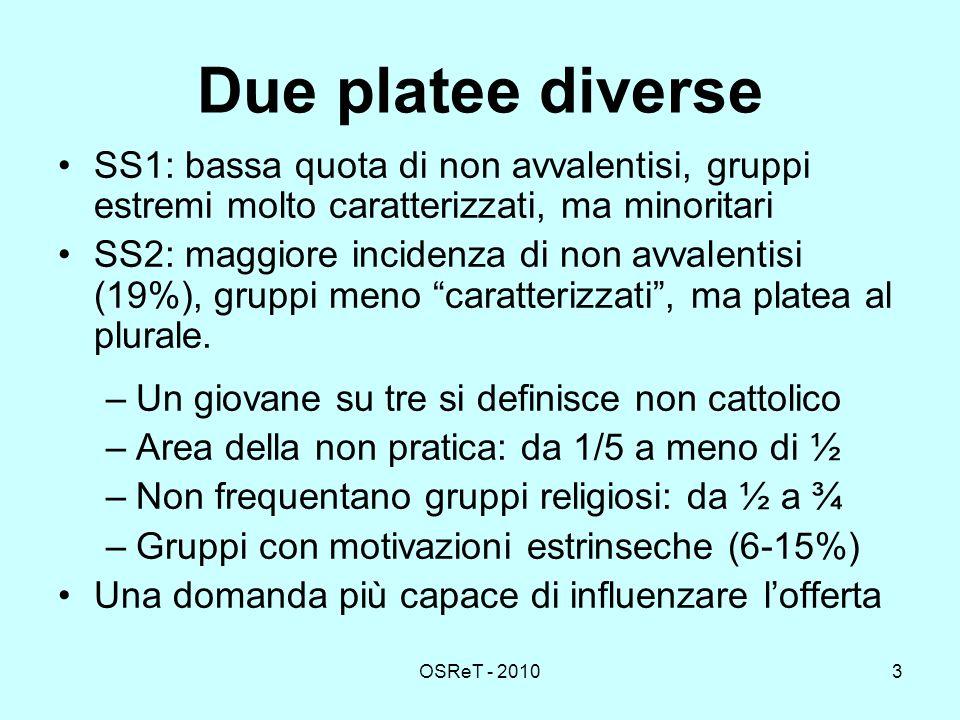 OSReT - 20103 Due platee diverse SS1: bassa quota di non avvalentisi, gruppi estremi molto caratterizzati, ma minoritari SS2: maggiore incidenza di non avvalentisi (19%), gruppi meno caratterizzati, ma platea al plurale.