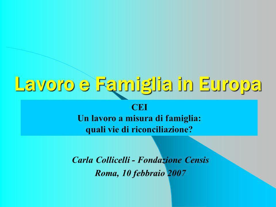 Lavoro e Famiglia in Europa Carla Collicelli - Fondazione Censis Roma, 10 febbraio 2007 CEI Un lavoro a misura di famiglia: quali vie di riconciliazio