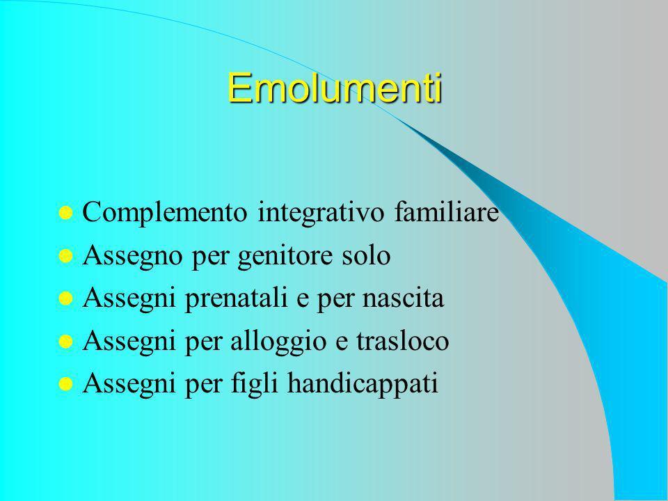 Emolumenti Complemento integrativo familiare Assegno per genitore solo Assegni prenatali e per nascita Assegni per alloggio e trasloco Assegni per figli handicappati