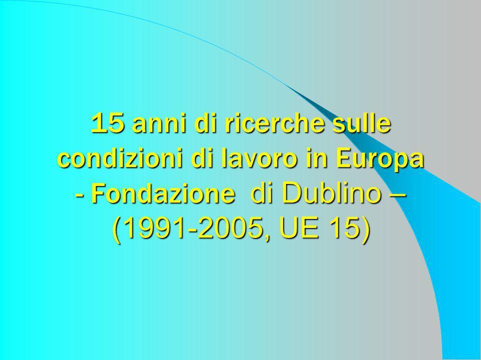 15 anni di ricerche sulle condizioni di lavoro in Europa - Fondazione di Dublino – (1991-2005, UE 15)