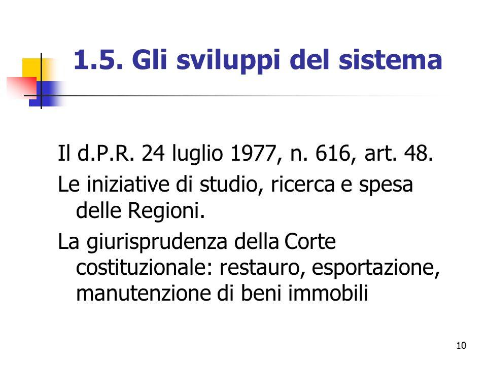 10 1.5. Gli sviluppi del sistema Il d.P.R. 24 luglio 1977, n. 616, art. 48. Le iniziative di studio, ricerca e spesa delle Regioni. La giurisprudenza