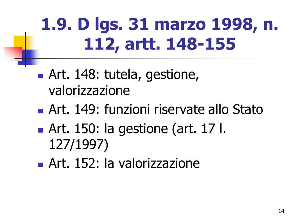 14 1.9. D lgs. 31 marzo 1998, n. 112, artt. 148-155 Art. 148: tutela, gestione, valorizzazione Art. 149: funzioni riservate allo Stato Art. 150: la ge