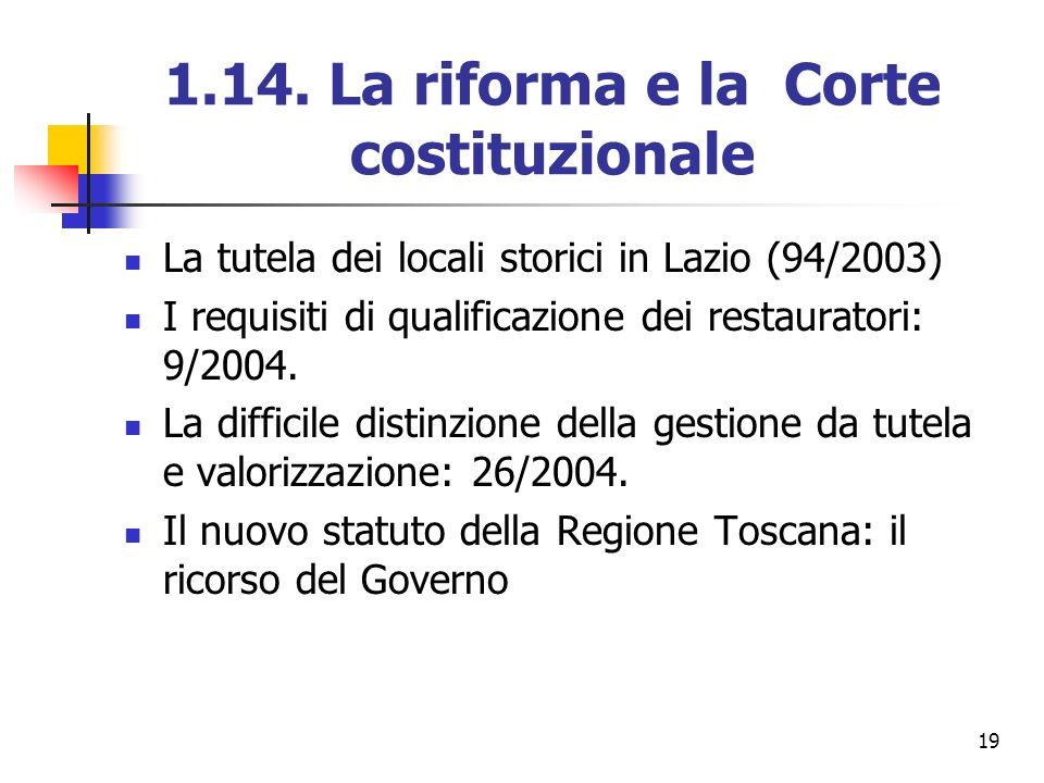 19 1.14. La riforma e la Corte costituzionale La tutela dei locali storici in Lazio (94/2003) I requisiti di qualificazione dei restauratori: 9/2004.