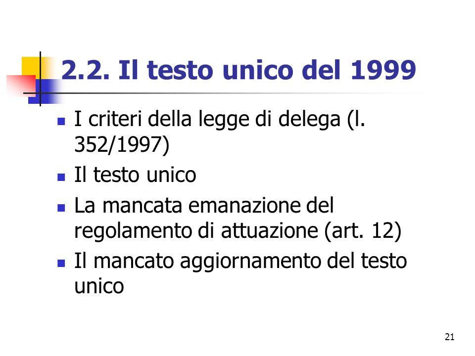 21 2.2. Il testo unico del 1999 I criteri della legge di delega (l. 352/1997) Il testo unico La mancata emanazione del regolamento di attuazione (art.