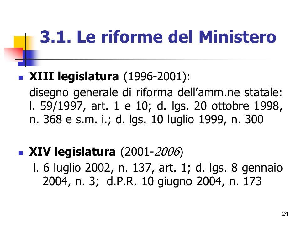 24 3.1. Le riforme del Ministero XIII legislatura (1996-2001): disegno generale di riforma dellamm.ne statale: l. 59/1997, art. 1 e 10; d. lgs. 20 ott