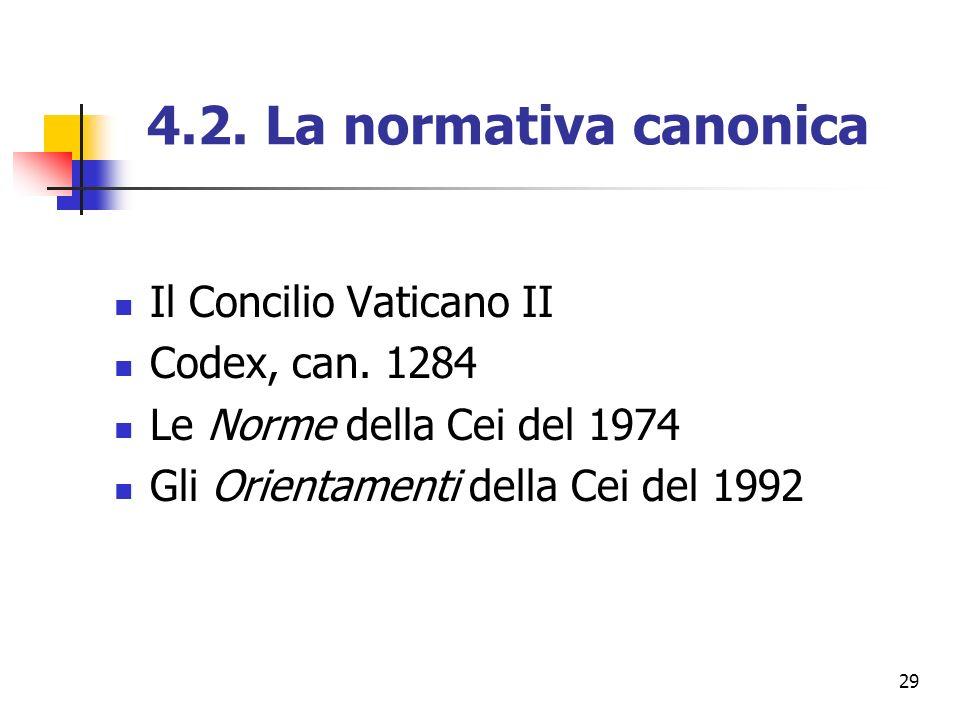 29 4.2. La normativa canonica Il Concilio Vaticano II Codex, can. 1284 Le Norme della Cei del 1974 Gli Orientamenti della Cei del 1992