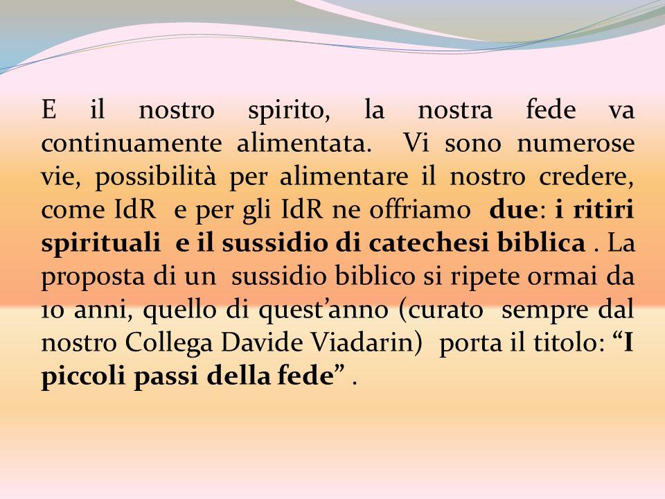 E il nostro spirito, la nostra fede va continuamente alimentata. Vi sono numerose vie, possibilità per alimentare il nostro credere, come IdR e per gl