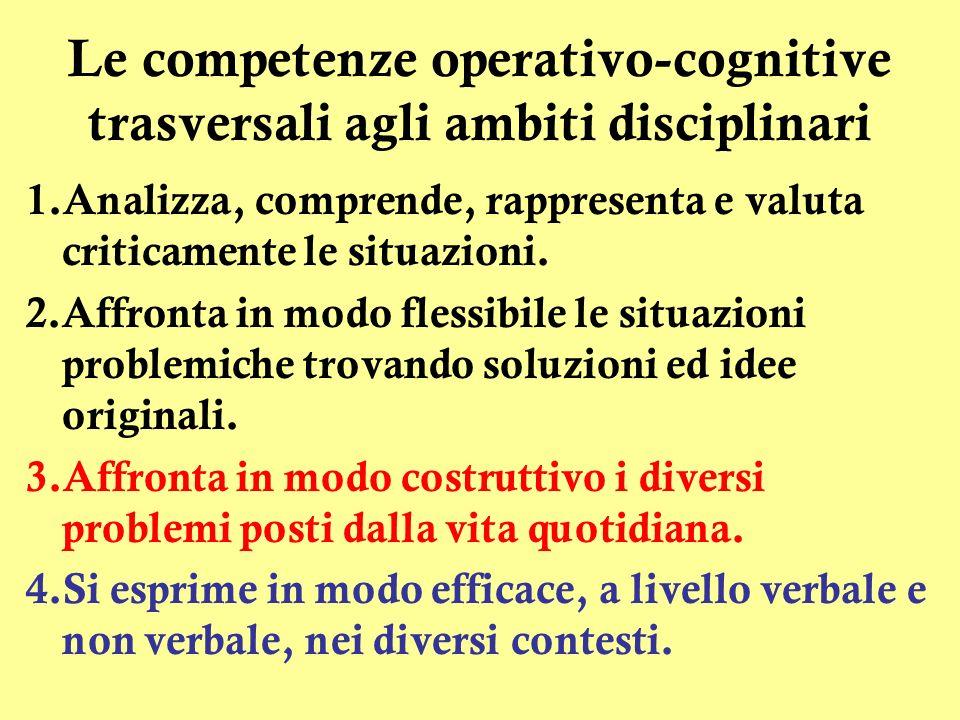Le competenze operativo-cognitive trasversali agli ambiti disciplinari 1.Analizza, comprende, rappresenta e valuta criticamente le situazioni.