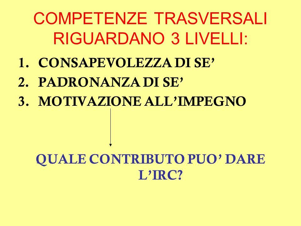 COMPETENZE TRASVERSALI RIGUARDANO 3 LIVELLI: 1.CONSAPEVOLEZZA DI SE 2.PADRONANZA DI SE 3.MOTIVAZIONE ALLIMPEGNO QUALE CONTRIBUTO PUO DARE LIRC?