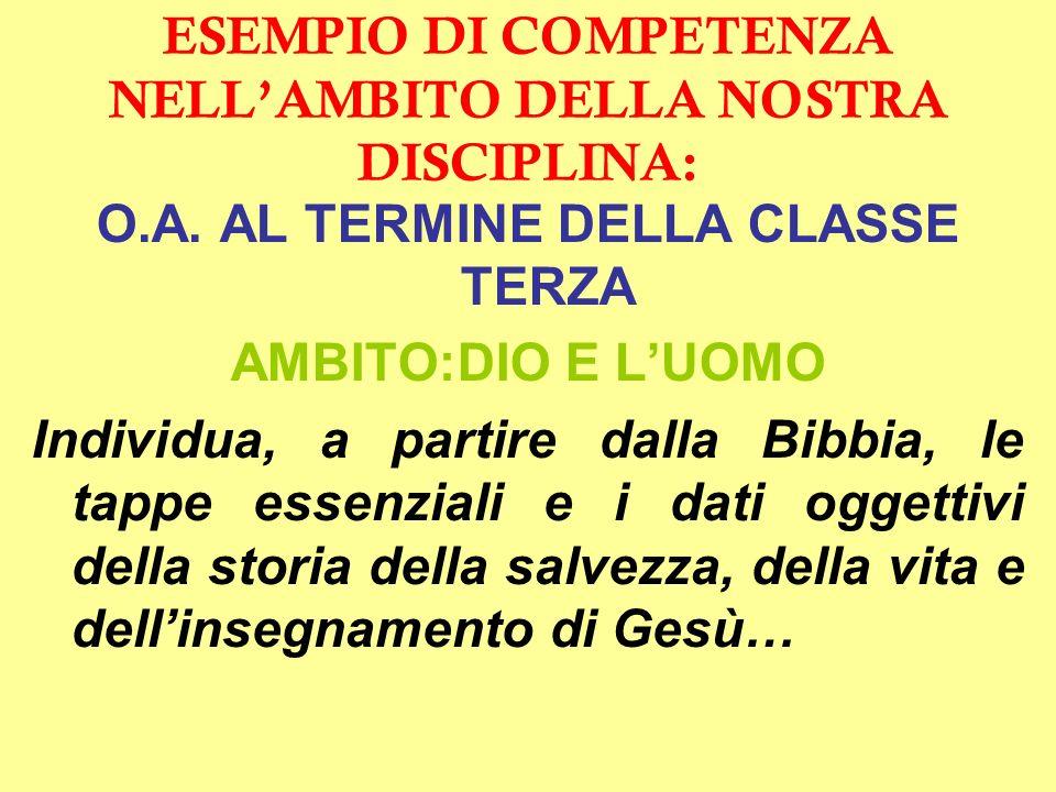 ESEMPIO DI COMPETENZA NELLAMBITO DELLA NOSTRA DISCIPLINA: O.A.