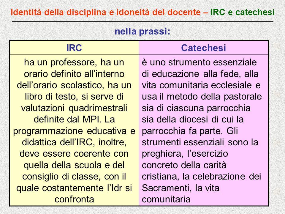 Identità della disciplina e idoneità del docente – IRC e catechesi nella prassi: IRCCatechesi ha un professore, ha un orario definito allinterno dello