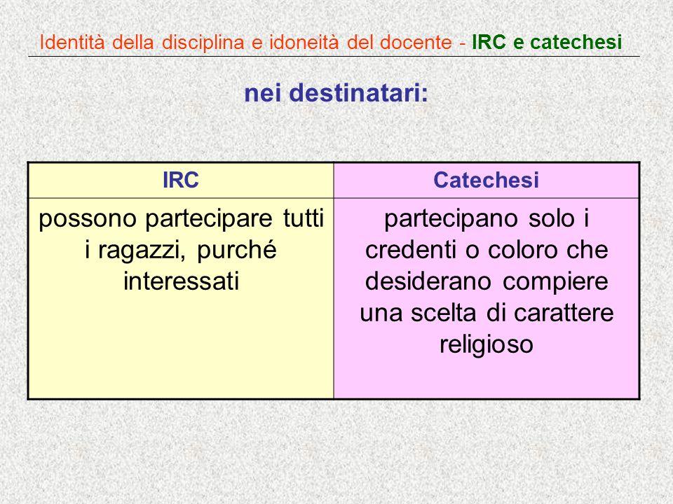 Identità della disciplina e idoneità del docente - IRC e catechesi nei destinatari: IRCCatechesi possono partecipare tutti i ragazzi, purché interessa