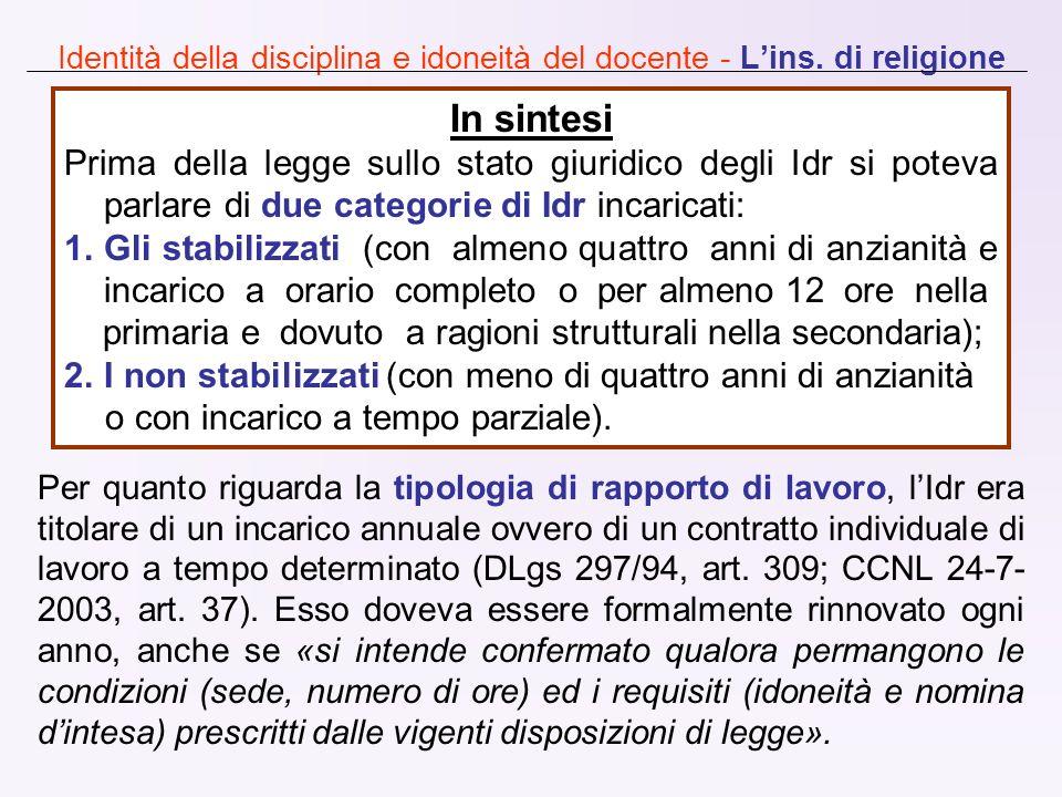 Identità della disciplina e idoneità del docente - Lins. di religione Per quanto riguarda la tipologia di rapporto di lavoro, lIdr era titolare di un