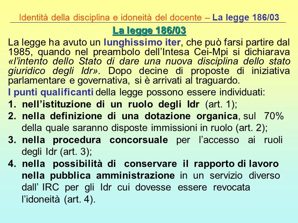 Identità della disciplina e idoneità del docente – La legge 186/03 La legge 186/03 La legge 186/03 La legge ha avuto un lunghissimo iter, che può fars